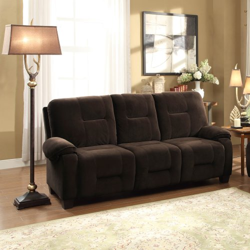 Auburn Sofa in Chocolate Microfiber by Homelegance sectional sofa with button tufted design brown microfiber