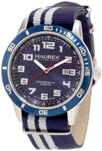 Haurex Italy 1A355UBB - Reloj analógico de cuarzo para hombre con correa de tela, color azul