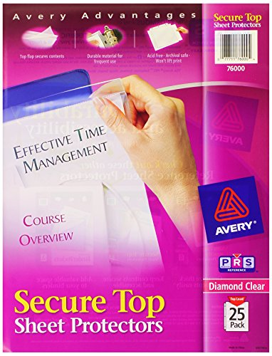 Avery Secure Top Sheet Protectors, Heavy Gauge, Letter, Diam