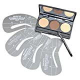 Five Bull 3 Color Pro Eyebrow Powder Wax Makeup Palette Cosmetic Shading Kit With Brush Mirror 4 Pcs Eye Brow Stencils Set (3 Color)