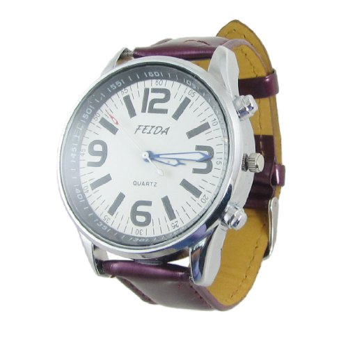 Round Case Arabic Numerals Dial Wrist Watch Purple