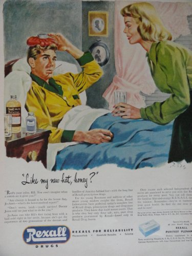 Rexall Drugs, 40`s Color Illustration/Painting, Print Ad. 10 1/2
