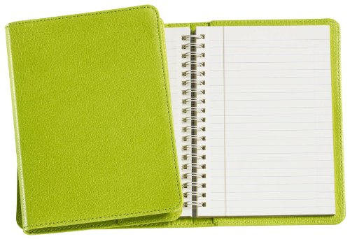 Graphic Image Wire-O-Notebook, Goatskin Leather, 7-Inches, Lime (JS7MRBLGTILIM)