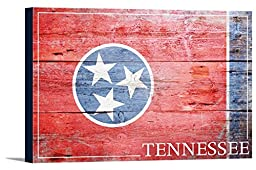 Tennessee State Flag - Barnwood Painting (18x12 Gallery Wrapped Stretched Canvas)