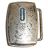 Vintage Art Deco Hickok Silver Plated Belt Buckle - Initial O Enameled