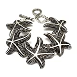 Darkened Silvertone Starfish Link and Toggle Bracelet