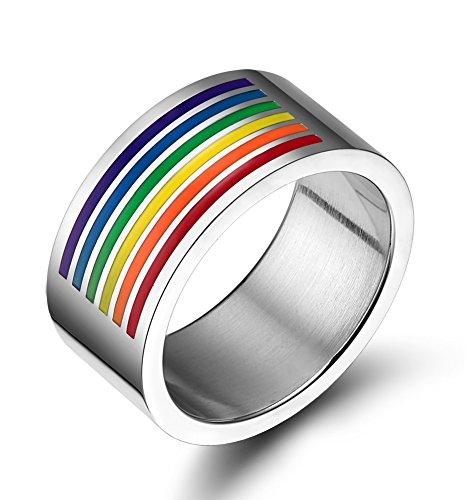 LianDuo Gay Lesbiche LGBT in acciaio inox Rainbow Flag Orgoglio aggancio di cerimonia nuziale Matrimonio Promise Ring