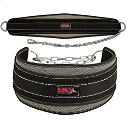 Weight Lifting Neoprene Dipping Belt with Metal Chain Grey
