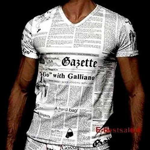 Maglia T-Shirt Scollo a V Uomo John Galliano Maniche Corte V Neck Men Short Sleeves (52, bianco)