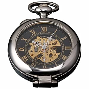AMPM24 š²nico Hombres Magnifier Esqueleto Mecánico de cuerda manual Relojes de bolsillo WPK023 de AMPM24