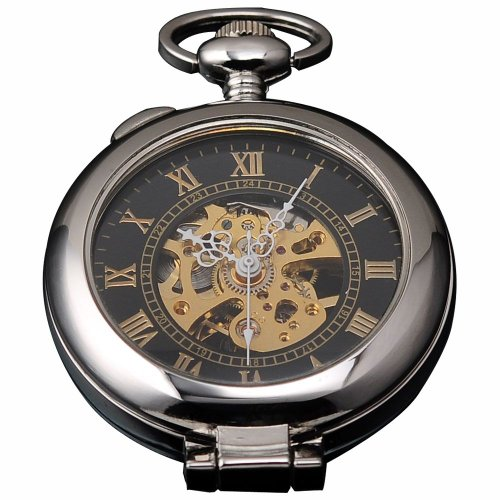 AMPM24 Unique Men Magnifier Skeleton Mechanical Pocket Watch