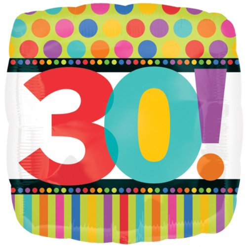 Party Destination - Dots and Stripes Birthday 30 Foil Balloon - 1