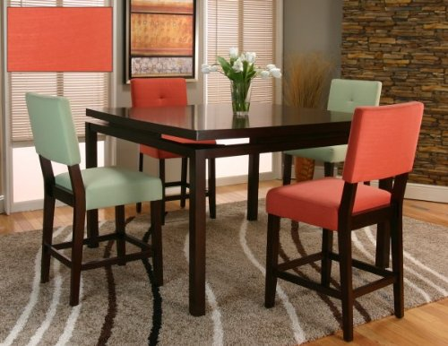 Melbourne Counter Height Floating Table Top Dining Set with Orange Chairs (Dark Oak Orange) (54 W x 36 H x 54 D) & Oak Dining Room Sets For Sale: Reviews Melbourne Counter Height ...