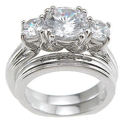 Cubic Zirconia CZ Three 3 Stone Wedding and Engagement Ring Set Size 9