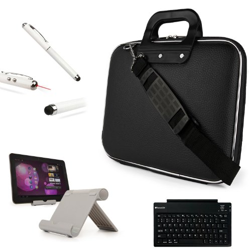Faux Leather Shoulder Bag Hardshell Cube Case For Amazon Kindle Fire Hd Hdx 7 Inch Tablet + Keyboard + Metal Stand + Stylus