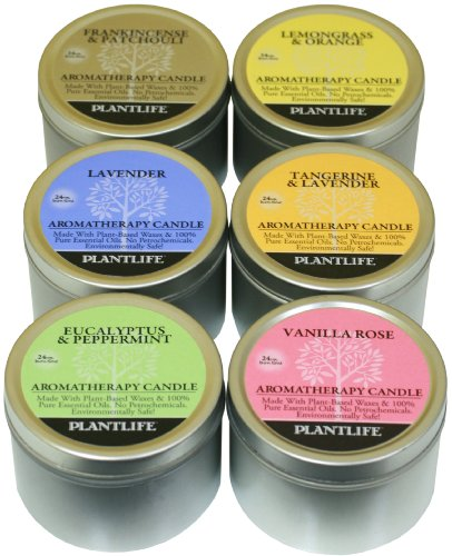 TOP 6 Aromatherapy Candles- made with 100% pure essential oils- Vanilla Rose, Eucalyptus & Peppermint, Frankincense & Patchouli, Lavender, Lemongrass & Orange & Tangerine & Lavender- 6-3oz candles
