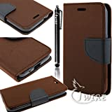 LUMIA 640 XL CASES iWIRE&reg Nokia Lumia 640 XL 5.7 in Brown & Black Two-Tone Wallet Leather Phone Case with Stand...