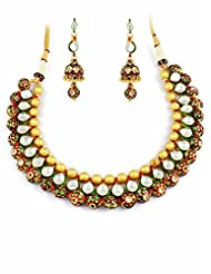 Kundan Necklace Set With Red & Green Color