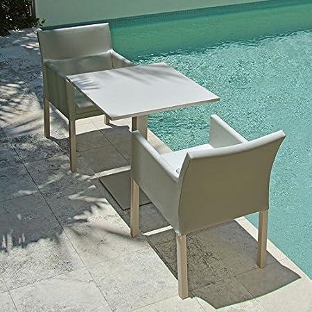 Amelia aluminio y tela 2Plazas Juego de mesa y sillas de comedor (marrón claro)