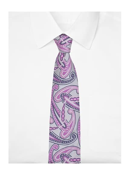 Duchamp Men's Paisley Poise Tie, Silver