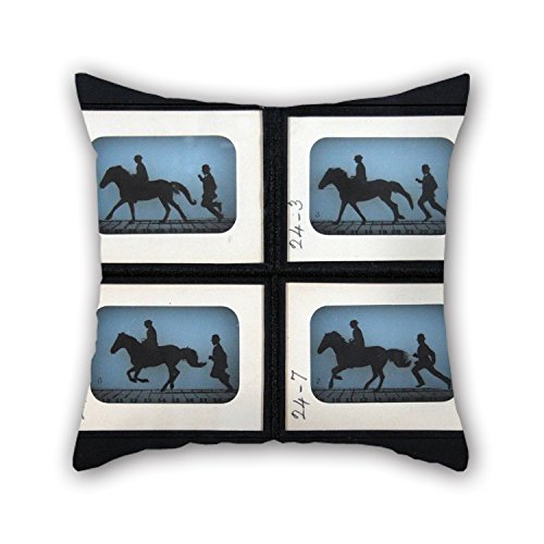 Alphadecor Cushion Cases Of Oil Painting Eadweard Muybridge - Leland Stanford Jr. On His Pony 'Gypsy',for Wife,bench,dining Room,deck Chair,him,couples 16 X 16 Inches / 40 By 40 Cm(double Sides) (Quilt Pattern The Gypsy Wife compare prices)