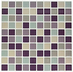 Tic Tac Tiles - High Quality Anti-mold Peel and Stick Wall Tile in Square Violetmint (10)