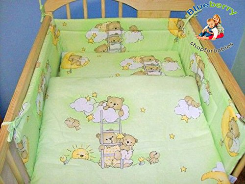 "BABY TODDLER JUNIOR BED COT BUMPER 35cm x 150cm (13.8"" x 59"") Green Bear - 1"