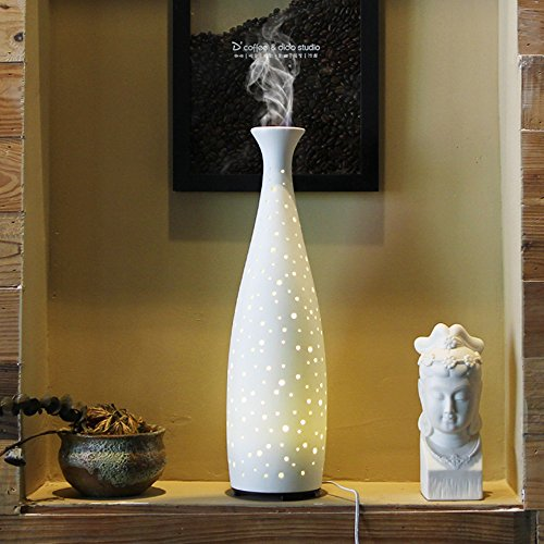 Essential Oil Diffuser, Joly Joy Vase Ultrasonic Aroma Diffuser Cool Mist Humidifier with Warm White LED Light 110ml