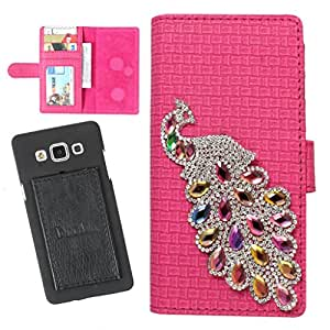 DooDa PU Leather Wallet Flip Case Cover With Rhinestone Peacock in Front And Card & ID Slots For Lava iris 504Q - Back Cover Not Included Peel And Paste