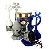 Ni•ce•Tea Solutions Silicone Loose Leaf Tea Infusers, with Drip Tray Exclusive Snowflake Design