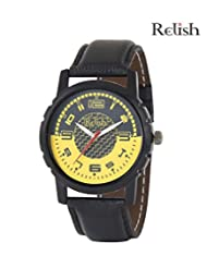 Relish Black Analog Round Casual Wear Watches For Men - B016A47XVS