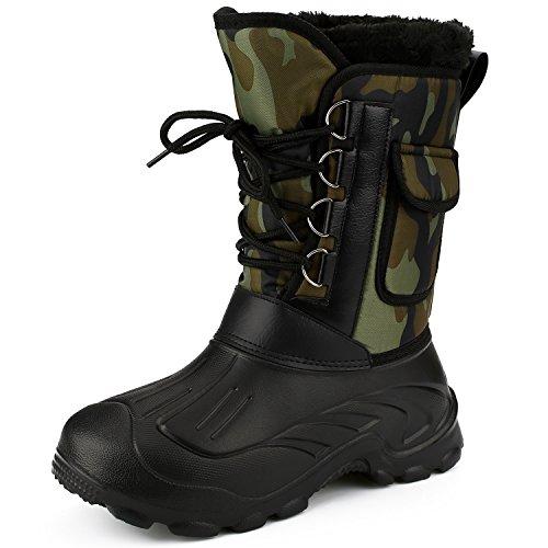 Stivale Stivali Invernali da Uomo Impermeabile da Pioggia Neve Montagna Escursione Hiking Camppeggio Pesca Outdoor Caldi Comodo Imbottiti (40(255mm), verde militare)