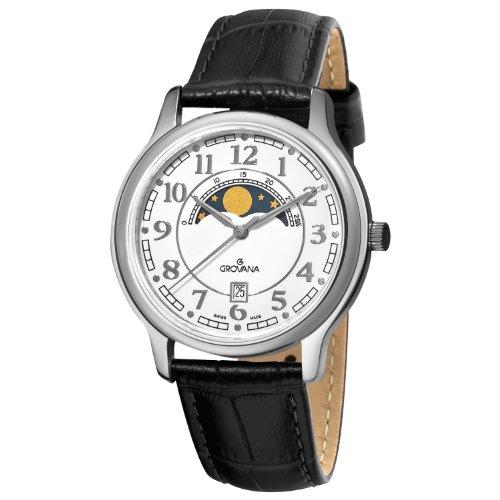Grovana  1026.1533 - Reloj de cuarzo para hombre, con correa de cuero, color negro