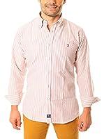 TIME OF BOCHA Camisa Hombre Lino (Blanco / Naranja)