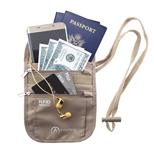 Neck Wallet & Passport Holder for Travel, Waterproof & 100% RFID Safe