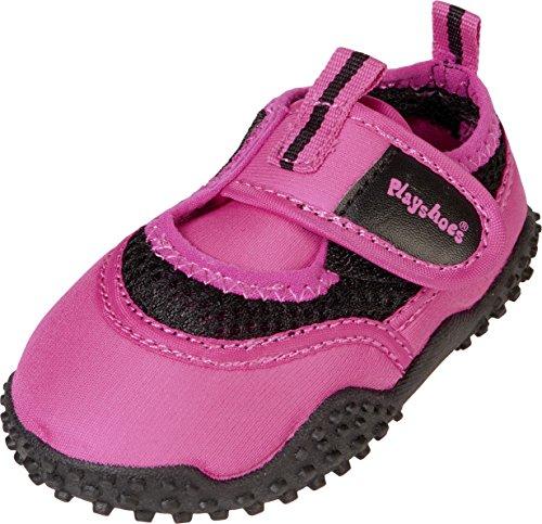 PlayshoesAquaschuhe, Badeschuhe Neonfarben mit höchstem UV-Schutz nach Standard 801 - Scarpe da Scogli Unisex - Bambini , Rosa (Pink (pink 18)), 24/25 EU