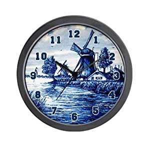 Amazoncom cafepress blue and white delft style wall for Blue kitchen wall clocks