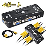 ieGeek 4ポートUSB2.0 KVM VGAスイッチボックス切替機 パソコン切替器