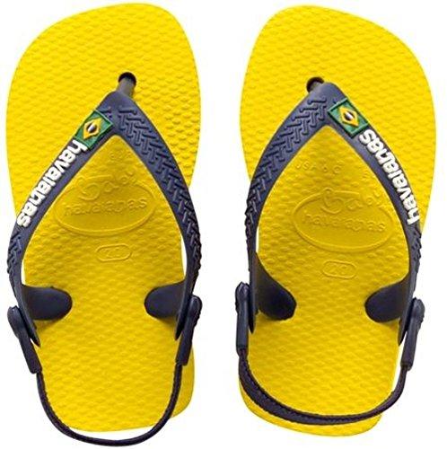 Havaianas Baby Brasil Logo - Chanclas, unisex-niños, Amarillo (Citrus Yellow), 23 EU