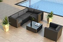 Hot Sale Urbana 5 Piece Modern Patio Sofa Sectional Set with Outdoor Wicker and Sunbrella Canvas Charcoal (54048-0000) Cushions