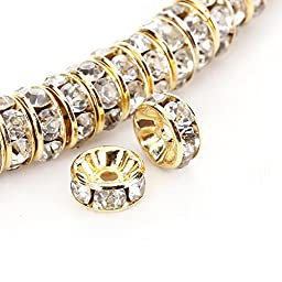 BRCbeads 8mm Gold Plated Crystal Rondelle Spacer Beads 100pcs per bag for jewelery making(#001 Clear Crystal)