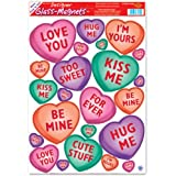 Valentine Candy Heart Glass Clings 12in. x 17in. Sheet 1/Pkg