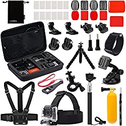 Luxebell 22-in-1 Accessories Bundle Kit for Gopro Hero 4 Black Silver Hero+ Lcd 3+ 3 2 Camera and Sjcam Sj4000 Sj5000 - Selfie Stick / Chest Mount Harness / Head Strap / Flexible Tripod