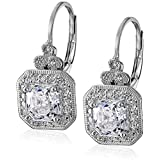 Platinum-Plated Sterling Silver Swarovski Zirconia Asscher-Cut Antique Drop Earrings