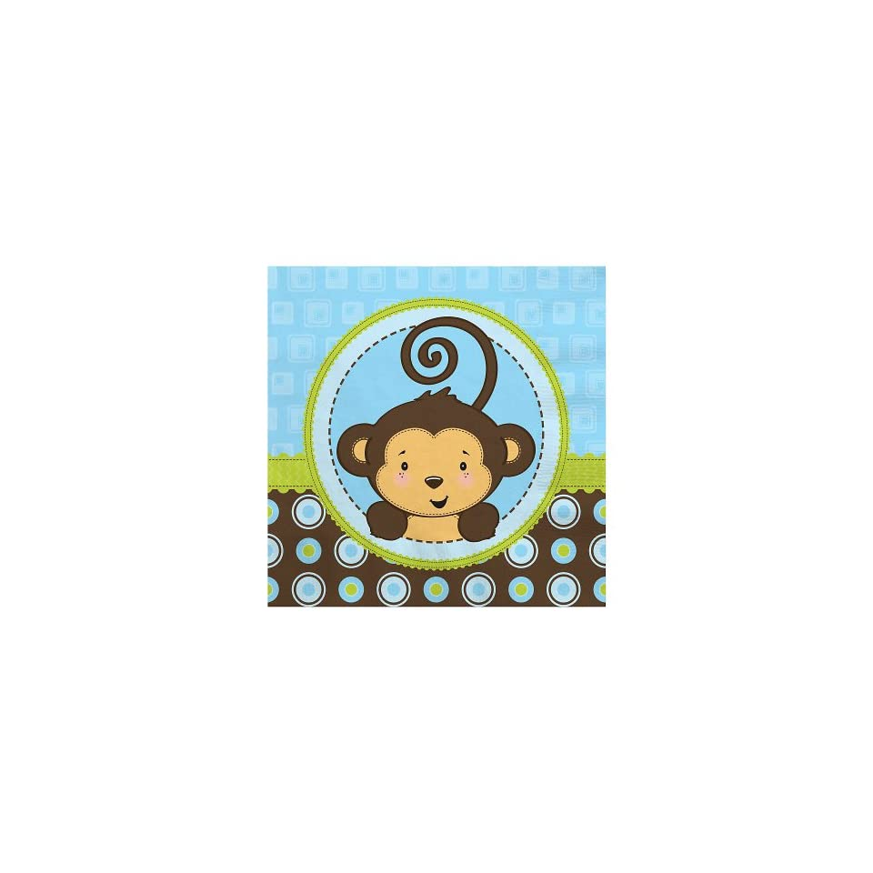 Monkey Boy   Baby Shower Beverage Napkins   16 ct