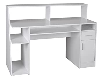 WOHNLING ordinateur de bureau multifonction table d'ordinateur blanc table de stockage tiroirs de table avec tagre bureau d'enfants meubles de bureau moderne rectangulaire avec botier PC