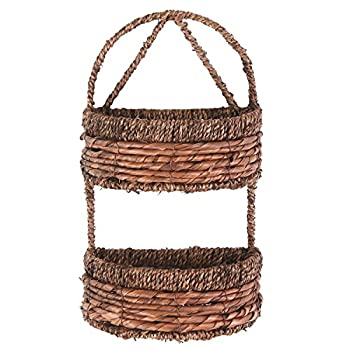 2-Tier Handwoven Brown Seagrass Half Circle Decorative Storage Basket - MyGift