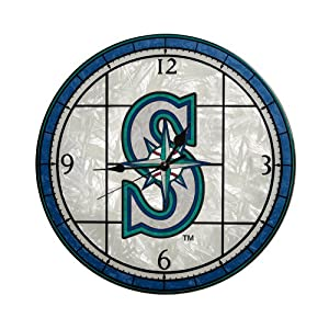MLB Seattle Mariners 12-Inch Art Glass Clock by The Memory Company