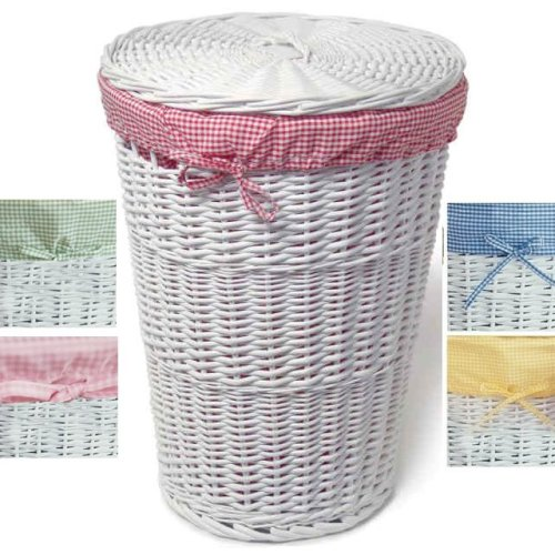 Round wicker hamper replacement liner sage green gingham laundry hamper liners - Wicker hamper with liner ...