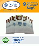 9 Eureka Style RR Allergen Filtration Vacuum Bags - Compare With Eureka Part # 61115, 61115A, 61115B; Designed &amp; Engineered by Crucial Vacuum